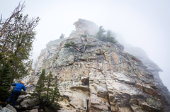 Rock Climbing Photo: Looking up at Disappointment Peak in the fog