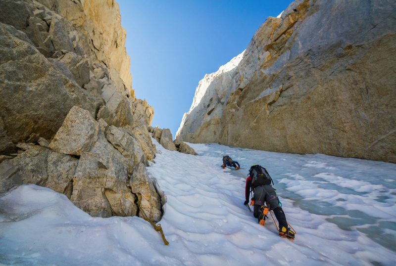 Heading up the couloir with some decent alpine ice