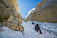 Rock Climbing Photo: Heading up the couloir with some decent alpine ice