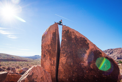 Rock Climbing Photo: Topping out the problem