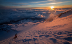 Rock Climbing Photo: Descent at sunrise down bolam glacier