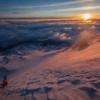 Descent at sunrise down bolam glacier