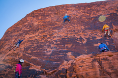 Rock Climbing Photo: Climbers on various routes on Magic Bus