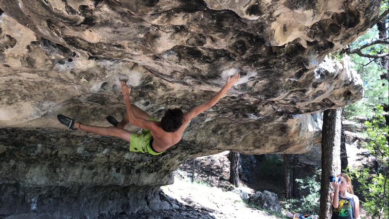 Rock Climbing Photo: Large move to solid pocket hold after feet cut.