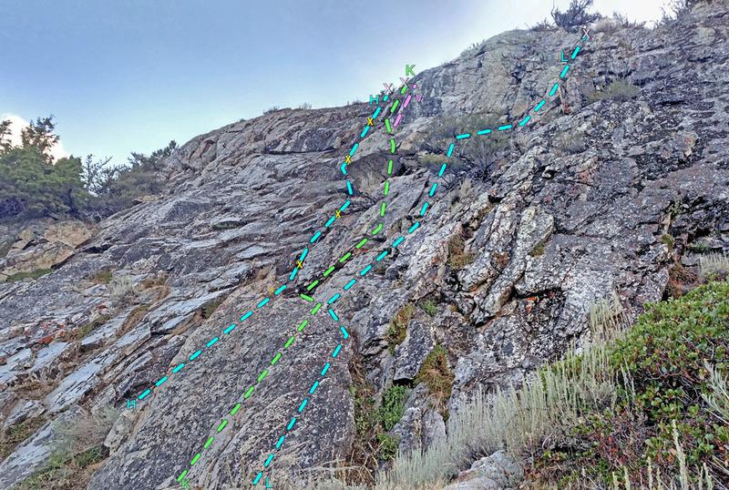Lewis sector 7: Trail Slab + Shelves from NE<br> H. Right Corner<br> K. Wander Left<br> . v Variation<br> L. Wander Right