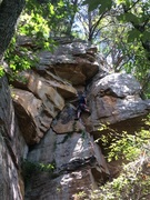 Upper section of Ox crack (after the 'left ramp', and about to head right under the roof to the anchors high right)