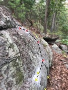 Rock Climbing Photo: Shows the chalked starting jug (yellow X) and two ...