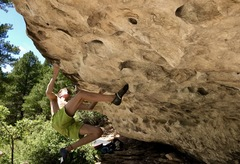 Rock Climbing Photo: Release the tension and hold strong with right arm...