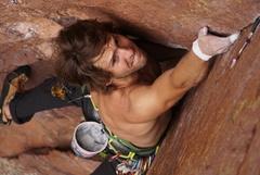 Rock Climbing Photo: Josh LaMar battling the thin crack up top.