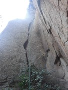 Rock Climbing Photo: Small ledges on left make the OW 'easy'.