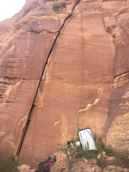 View of the route from the base. Wide crux is in the middle.