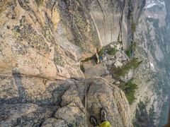 Rock Climbing Photo: Looking down from the 2nd pitch North Early Winte...