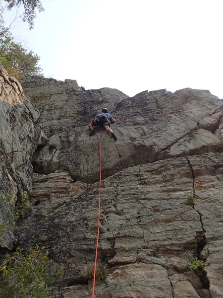 NN passing the crux on the first ascent.