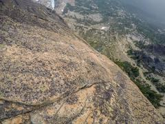 Rock Climbing Photo: Looking down the 4th pitch.  This beast eats small...