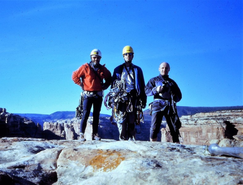On The Summit 2002 . First Ascent ... L to R Paul Ross. Paul Marshall (UK) Andy Ross
