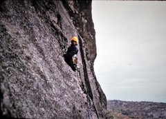 Rock Climbing Photo: Henry following to Freak Out ledge .. FA ..The Big...