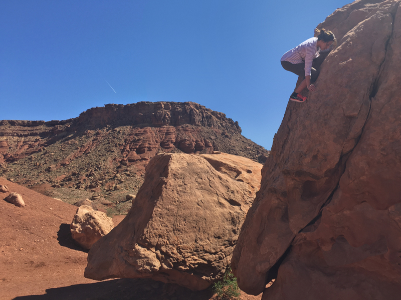 Stretching from car ride, Marble Canyon