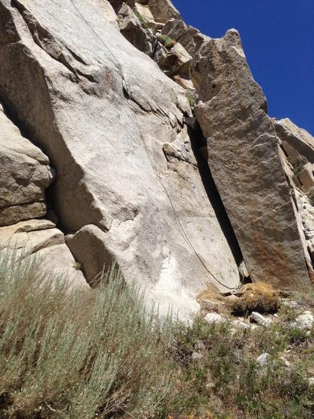Rock Climbing Photo: Lie back pillar at the bottom.