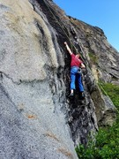 Rock Climbing Photo: Moving out of the crux on Broken Head.