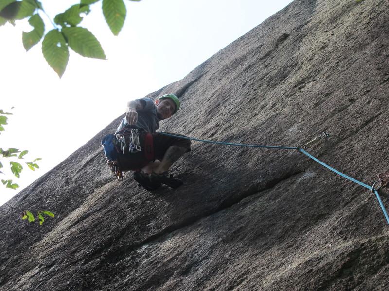 Rock Climbing Photo: Lee Hansche after sticking the crux