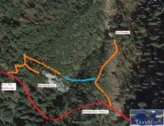 Trails around La Mariposita and TriTower.  Blue trail is very primitive at the moment. Red trail is main FS trail thru the area.