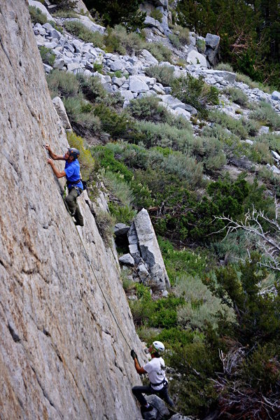 """Rock Climbing Photo: Dave at the crux of """"Christmas In July'"""