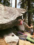 Rock Climbing Photo: Solid heel hook into a positive rail.
