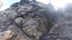 Rock Climbing Photo: Climb straight up obvious V feature after pulling ...