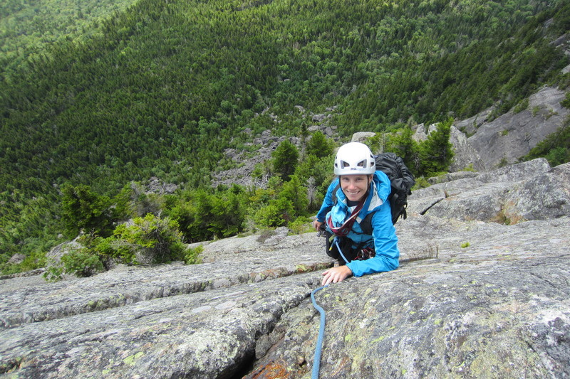 Looking down the very easy and delightful 3rd pitch (after moving the P.2 belay up 40 feet to the tree ledge).