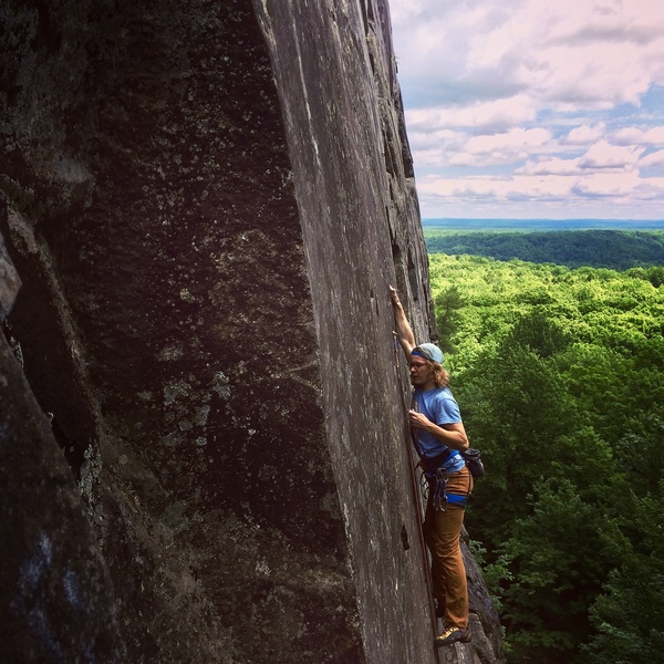 Rock Climbing Photo: Jake leading at Silver Mountain.