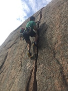 My friend's first 5.9 trad lead. All of the pro!