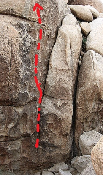 To be clear. The route starts at the bottom of the crack, then bust's left onto the face.
