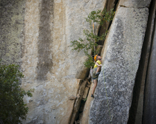 Rock Climbing Photo: Great slab climbing to juggy roof, crazy!