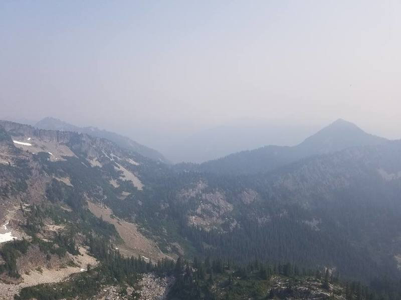 Smoky view of Snow Lake from the fires in the Great White North.