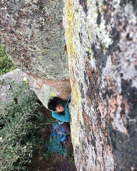 Melissa climbing the fun 8+? next to Closer to the Sun on the north side of Plumb Line Crag.