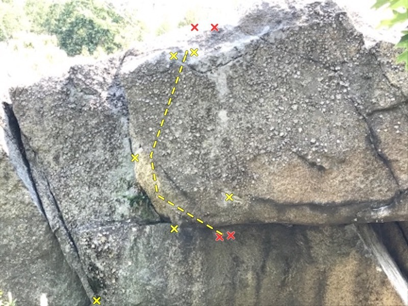 This shows the whole climb. Start matched on the crimp under roof (Red) with foot way out left (Yellow). Your left hand moves up to grab a good, flat jug (yellow), then grab a crimp low on the face (yellow), work your feet up on good smears, then your left hand slaps up the inside part of the aerie (yellow), then make a big move to the finishing holds (yellow)!