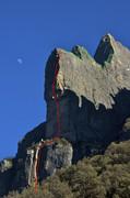 Rock Climbing Photo: Original Karma de Los Condores marked in red, most...