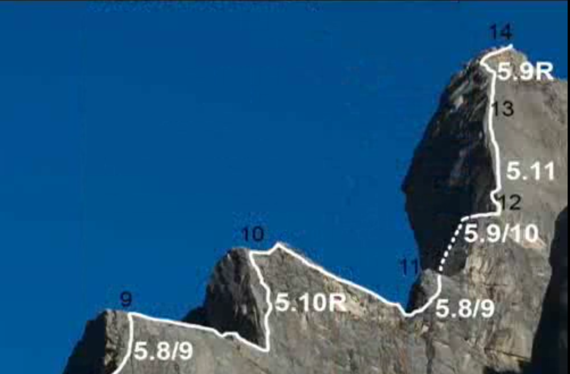 Rough topo of extended upper pitches. There is one protection bolt on the upper 5.11 pitch, otherwise we left no fixed gear for anchors or protection in 2008.