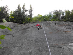 Rock Climbing Photo: Upper part of route, top anchors are in front of b...