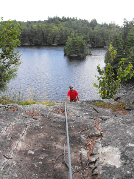 Sweet view for the belayer, there are solid trees 20 ft behind typical belay seat to anchor into. Rope drag over the edge was not a problem, communication was. We set another rope with a climber over the edge to communicate and for visual confirmations.
