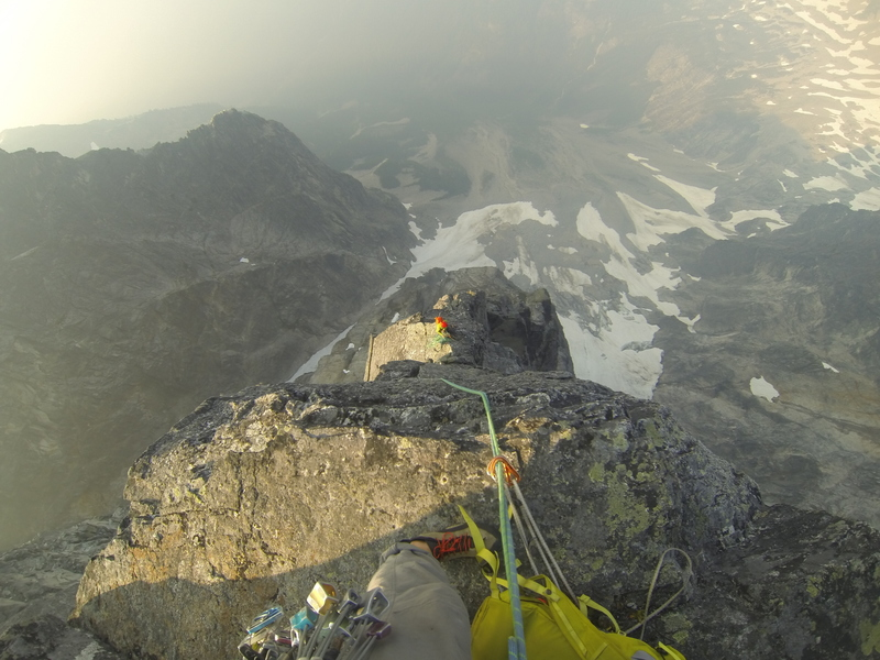 Rock Climbing Photo: Looking down from one of the last pitches. This is...