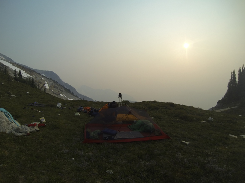 Camping on the saddle (it was smoky due to BC wildfires)