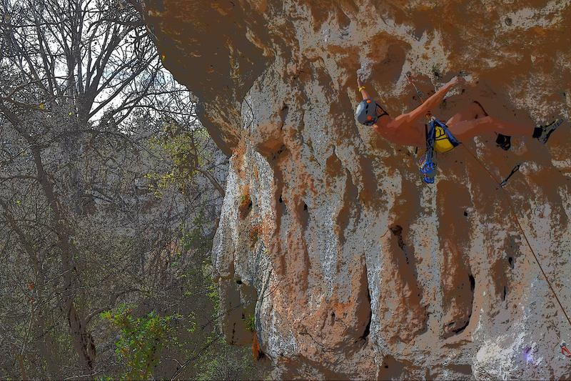 Rock Climbing Photo: Liposuction (5.12a) at Reimer's Ranch, TX in March...