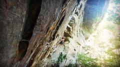 Rock Climbing Photo: My attempt Tic-Tac-Toe (5.12b) at the RRG in July ...