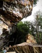 Rock Climbing Photo: Being lowered after finishing Tobacco Road (5.12b)...