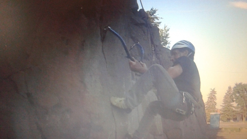 Rock Climbing Photo: Dry tooling at Silver Bays roadside crag named &qu...