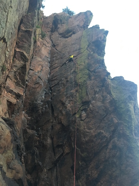 Matt entering the start of the crack on the second free ascent.