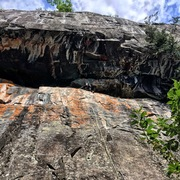 Rock Climbing Photo: Jenna D. cleaning the anchors of some route under ...