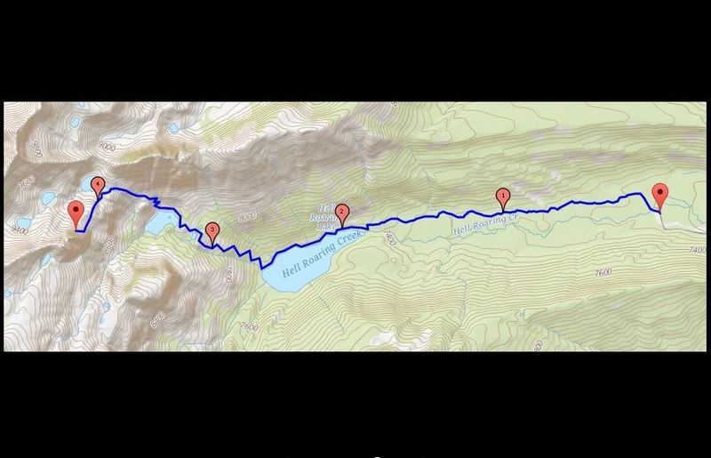 This is the best ascent/descent route.  Expect a 3 hour hike at least each way.  If you follow the route described on the individual page (south side of Hell Roaring Lake to South Gully below the Finger) you'll have a much longer day, with more challenging trail finding and loose gravel hiking.