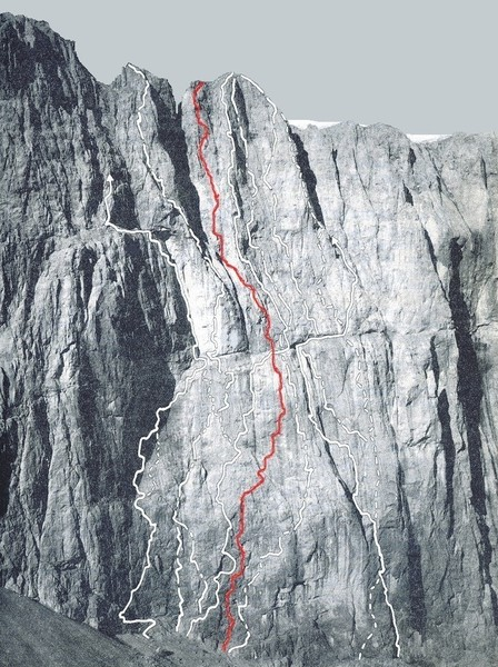 "Punta Rocca with ""Futura"" (rarely climbed, 5.11+) marked in red."